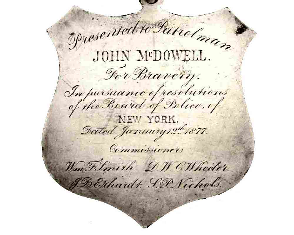 1877 NYPD Medal of Valor for John McDowell Back