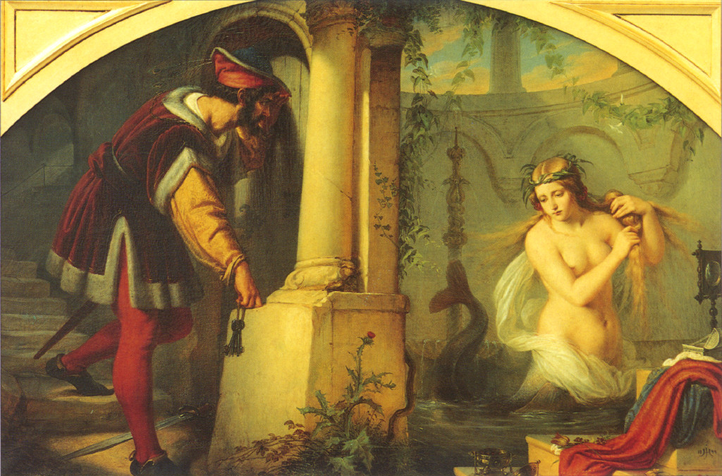 Raymond of Poitiers spies Melusine in the bath.