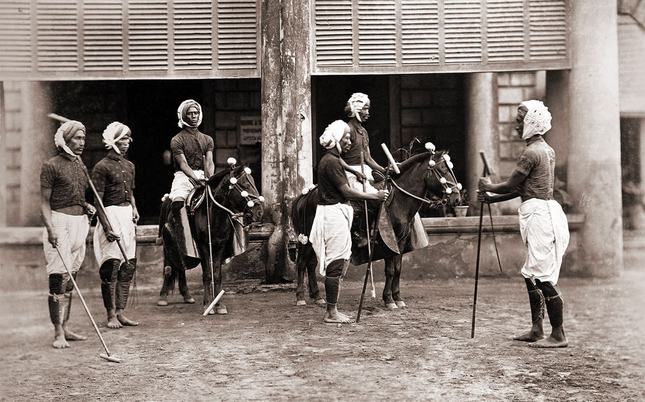 Image of Earliest Polo (pulu) Players in Manipur India, circa 1875